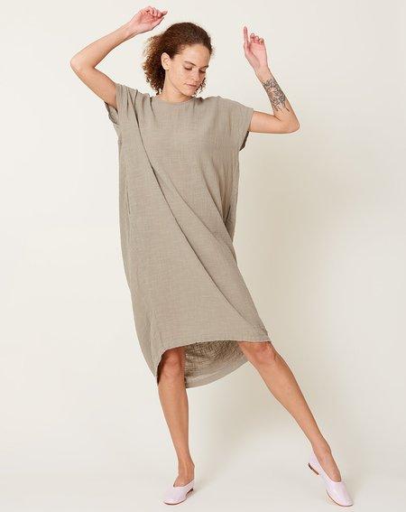 Black Crane Pleated Cocoon Dress - Stone