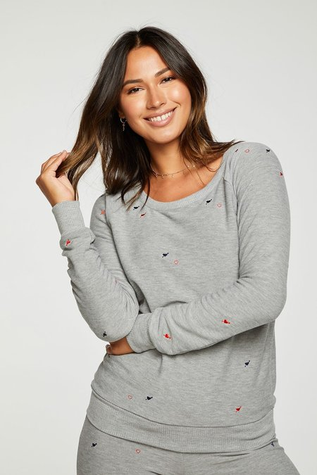 Chaser LA Heart and Arrow Pullover - Heather Grey