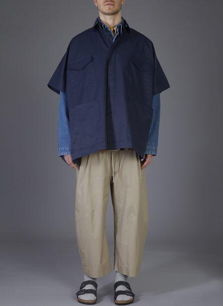 UNISEX GREI. 4-POCKET SHIRT PONCHO COAT - MIDNIGHT BLUE