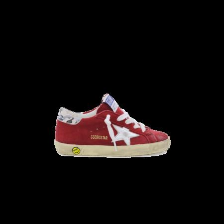 Kids Golden Goose Superstar Sneakers - Red Suede/Camouflage