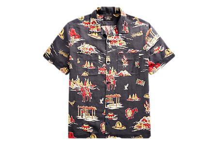RRL Print Linen Blend Camp Shirt - Indigo Multi