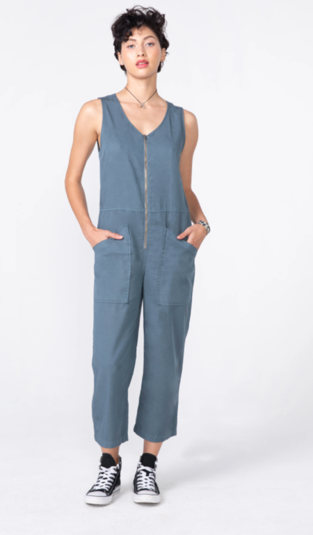 Unpublished Cotton Tencel Sleeveless Jumpsuit - blue