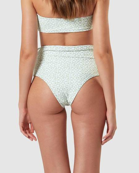 Charlie Holiday Cabana High Waisted Swimsuit Brief - Green Floral