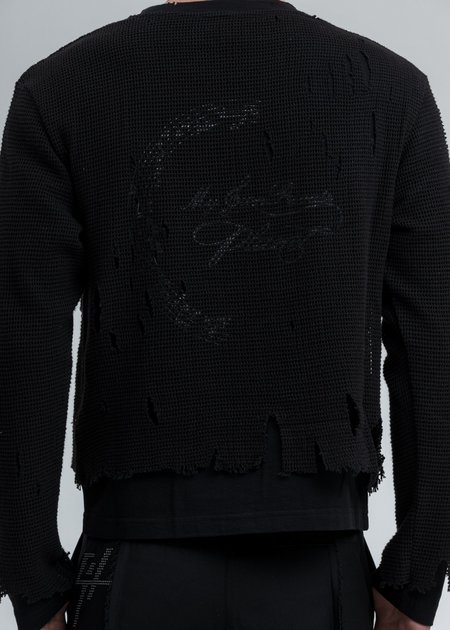 C2H4 Distressed Knit Meshing Layered Long Sleeve - Black