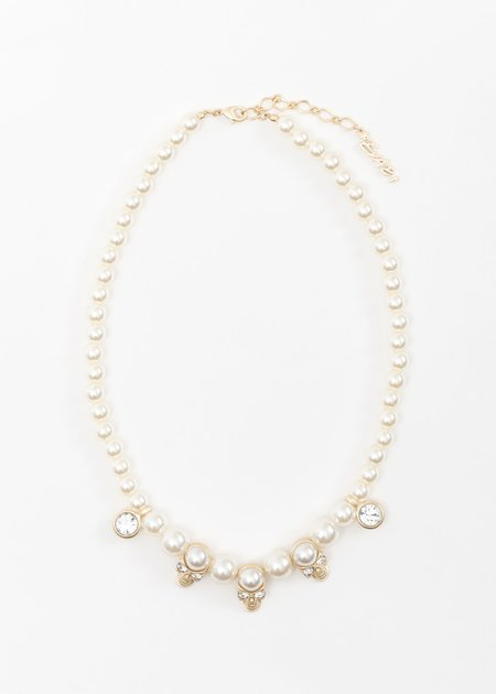 EVAE Pearl And Skull Necklace