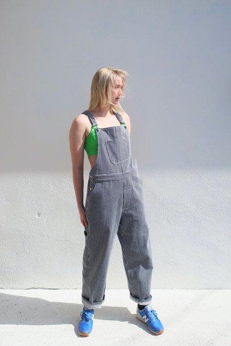 Girls of Dust Bib Overall - Hickory Stripe Blue