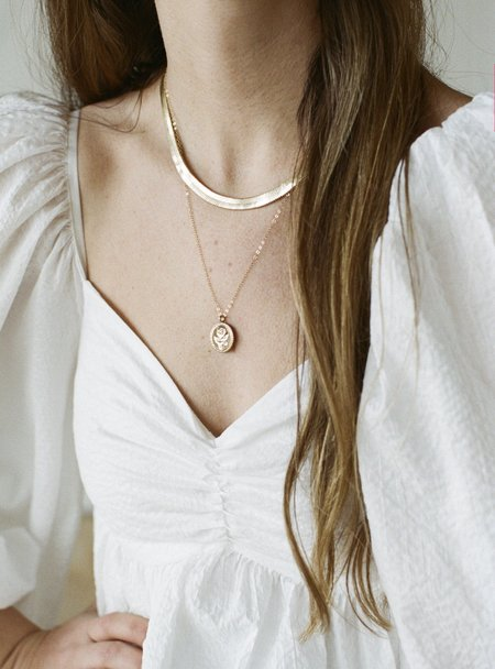 Wolf Circus Rose Coin Necklace - Gold