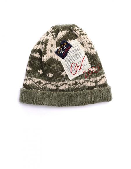 Greg Lauren Paul Shark Knitted Wool Hat - Green