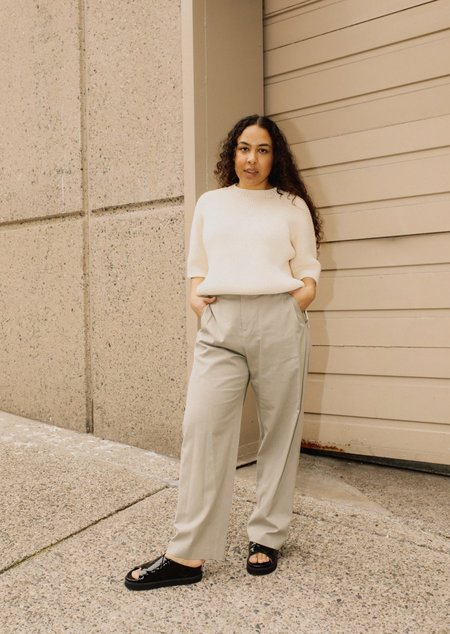 Amomento Cotton Wide Tuck Pant - Sage Green