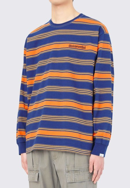 ThisIsNeverThat Onyx Striped Long Sleeve tee - blue/orange/yellow