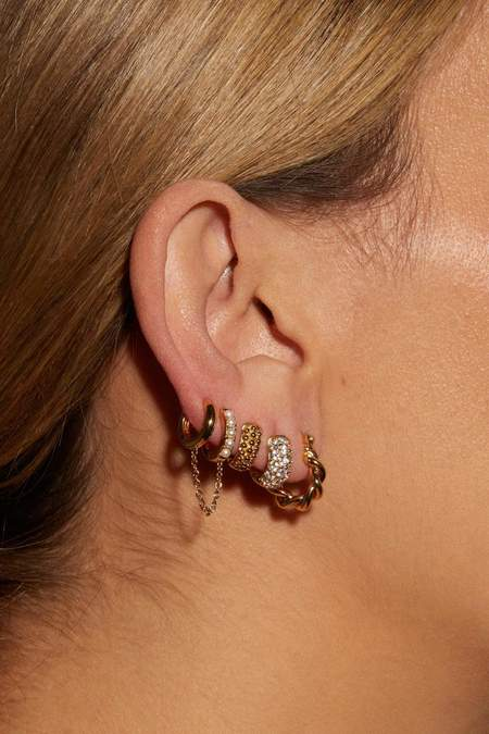 Petit Moments Double Chain Huggie Earrings - 18k Gold Plated Brass