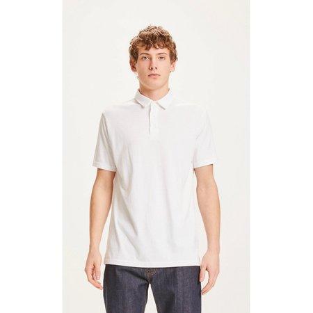 Knowledge Cotton Apparel Rowan Tone-in-tone Striped Polo - White