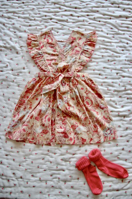 Kids Reina Apron Dress - Big Flowers