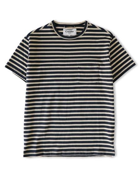 Corridor T-Shirt - Tan/Navy Stripe