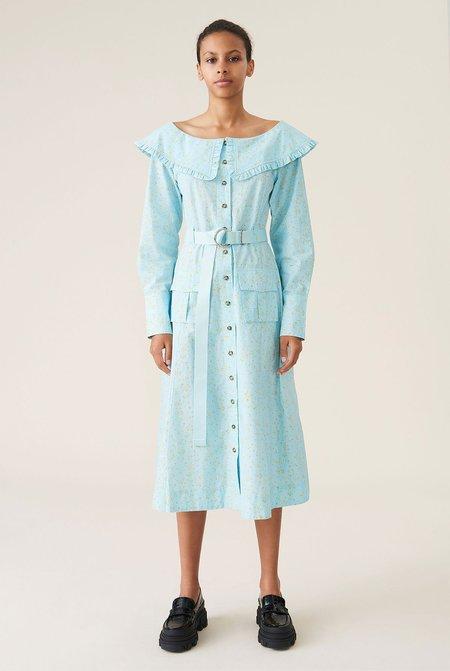 Ganni Printed Cotton Poplin Dress - Corydalis Blue