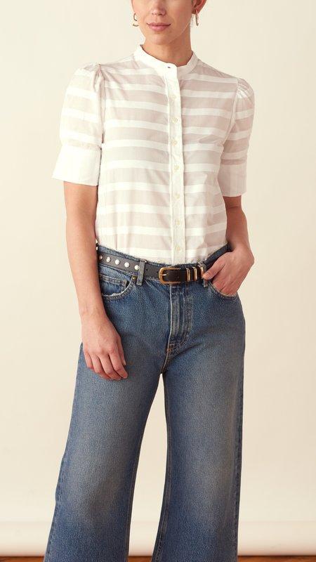 THE SHIRT BY ROCHELLE BEHRENS Short Sleeve Puff Shoulder Shirt