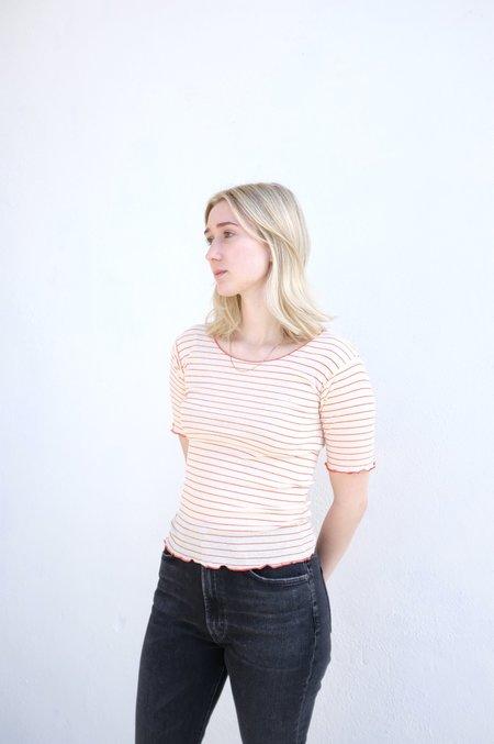 Baserange Pama 3/4 Cotton Rib Tshirt - Red/White Stripe