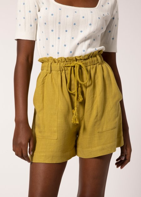 Mabel and Moss Daisy Linen Shorts - Olive