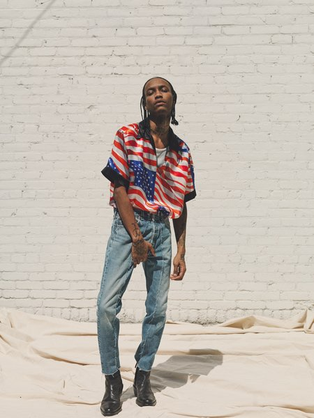 PHIPPS Satin Cupro Oasis Shirt - American Flag