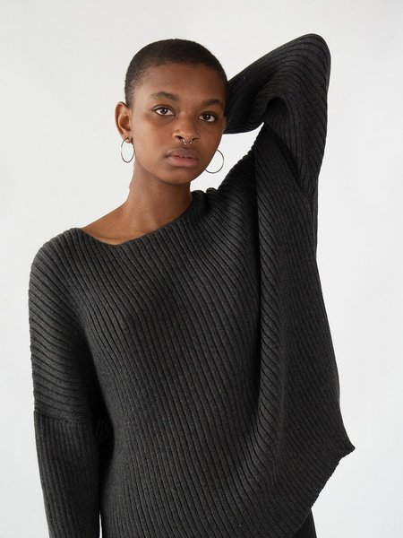 Erica Tanov ribbed cotton pullover - charcoal