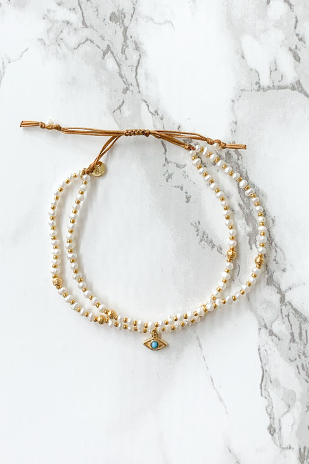 tai Evil Eye Double Bracelet - Gold/Pearl