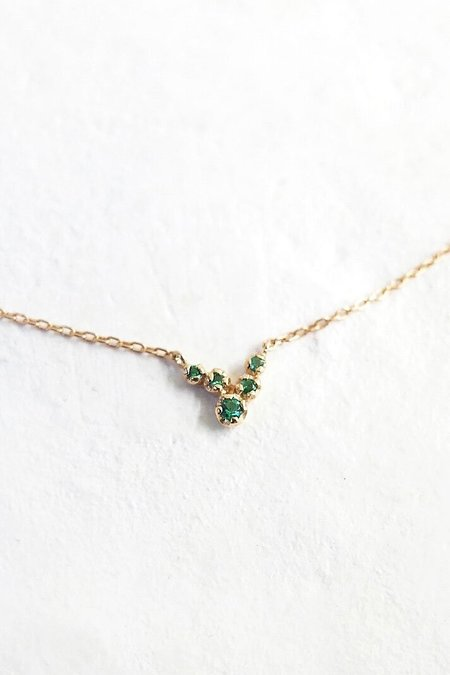 n+a new york Akari Necklace - Gold/Emerald
