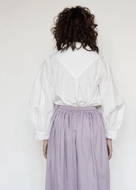 Christine Alcalay Sylvia Cotton Poplin Blouse - White Crinkle