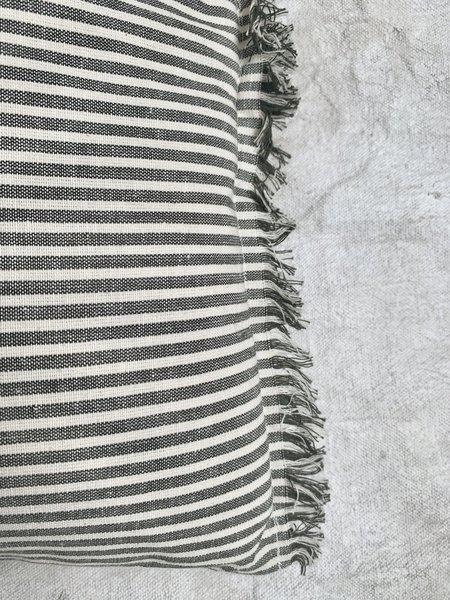 Cuttalossa & Co. Stripe Pillow with Fringe - Olive Green