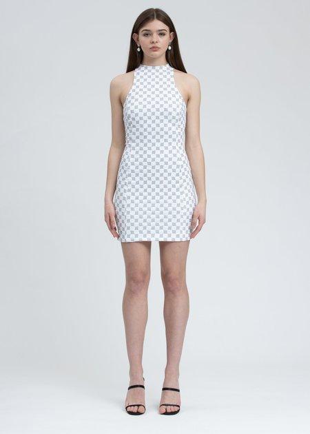 MISBHV Reflective Monogram Lara Mini Dress - White