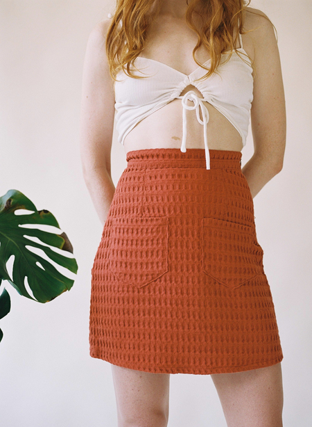 Aniela Parys Miriam Waffle skirt - red