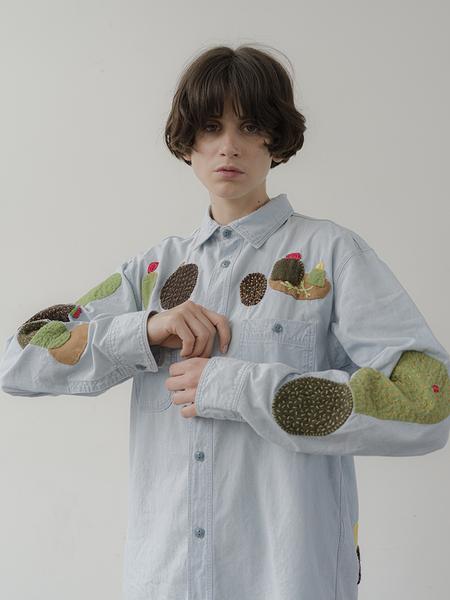 UNISEX Kapital Kountry Chambray Cactus Embroidery Work Shirt - Indigo