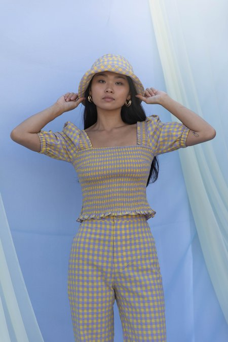 Mabel and Moss Kasi Smocked Gingham Top - Yellow Lavender