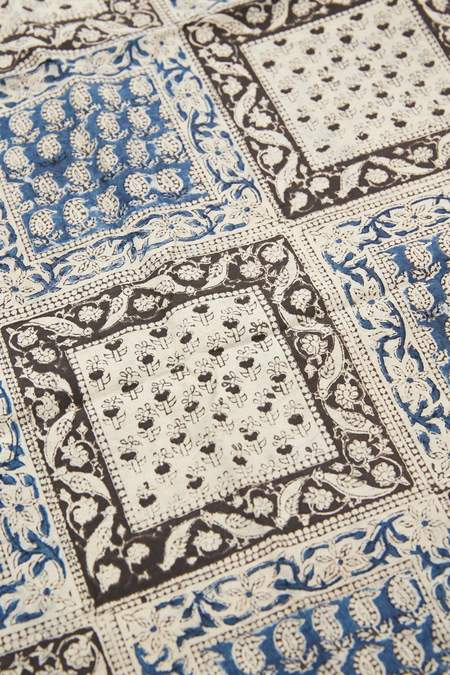 Beams Plus Cotton Stole - Block Print/Navy