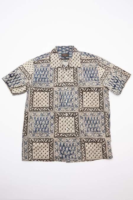 Beams Plus Short Sleeve Open Collar Block Print Shirt - Navy