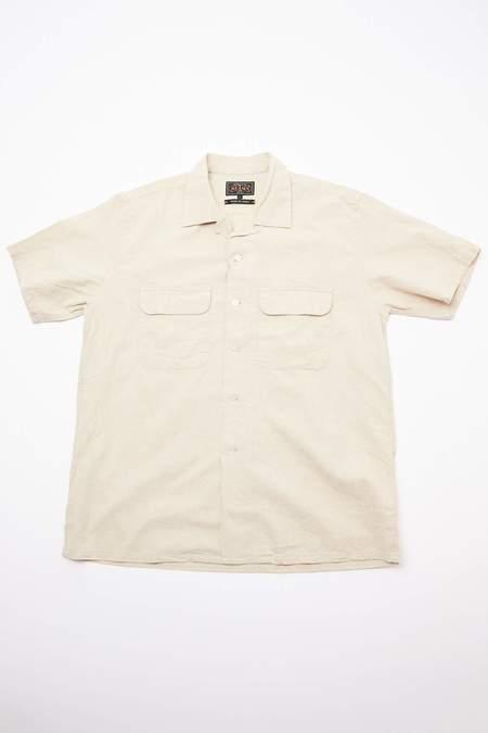 Beams Plus Short Sleeve Open Collar Cotton Linen Canvas Shirt - Natural