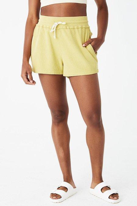 back beat rags Hemp Sport Rib Shorts - Lime