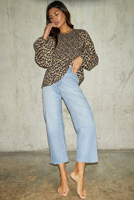 NEVER FULLY DRESSED Print Shirred Top - Leopard