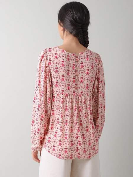 Indi & Cold Tessellated Blouse - Cherry