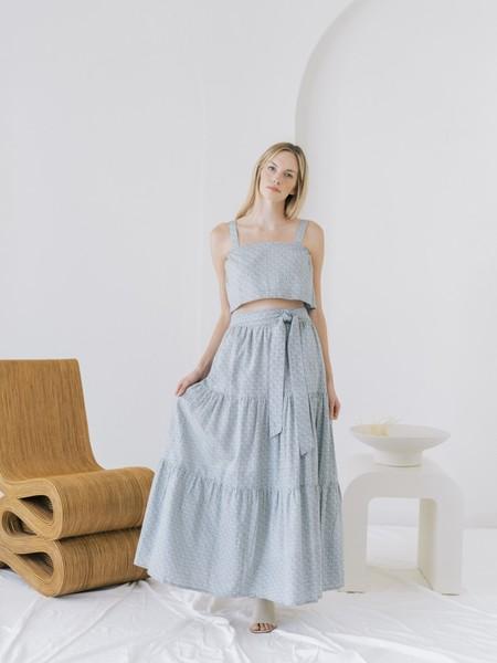 LAUDE the Label Sample Tiered Maxi Skirt - Indigo Block Print