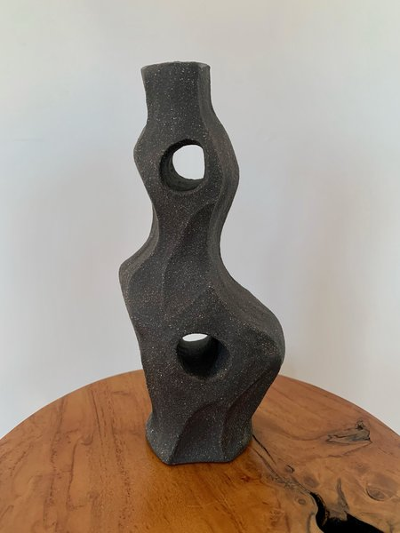 Ruby Bell Ceramics Candlestick Holder - Black Clay
