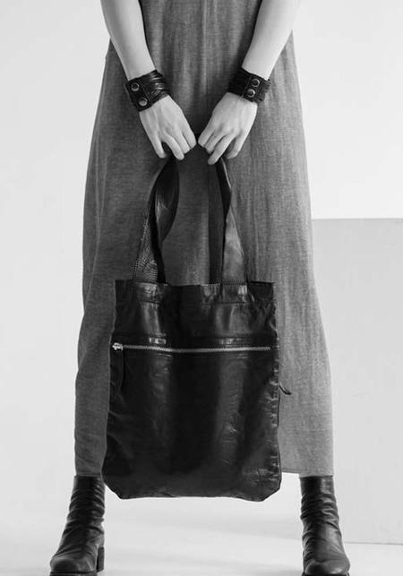 Julia Fom Leather Zip Detail Tote Bag - Black