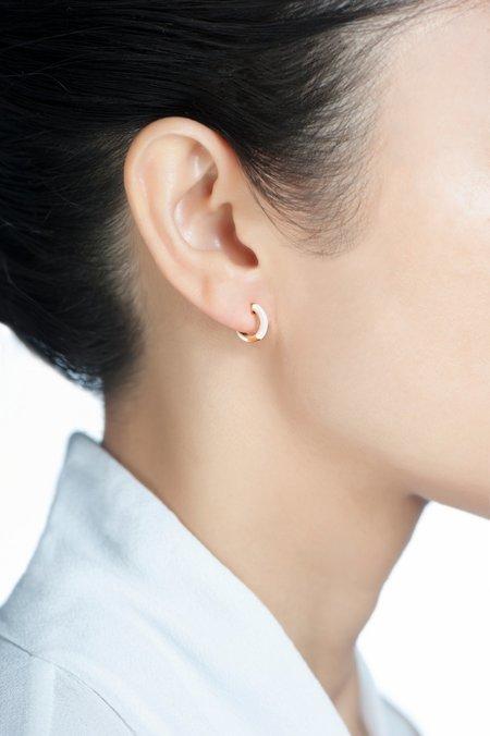 Hestia Zoe Huggie Earrings - White