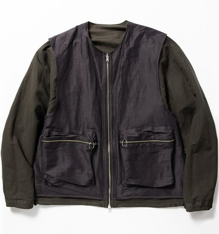 Meanswhile Duality Cloth Reversible 4way Jacket - Off Black