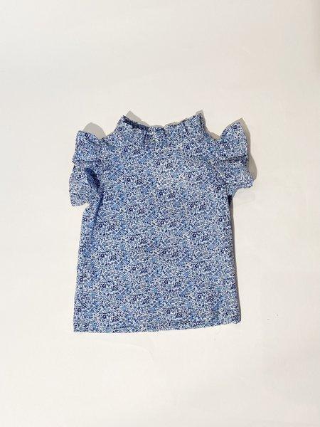 kids Mabo Kids Loulou Flutter Sleeve Blouse - blue
