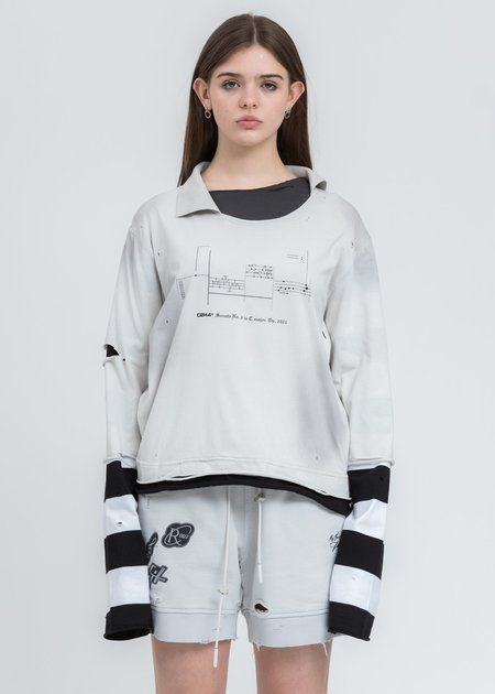C2H4 Panelled Distressed Double Layer Long Sleeve tee - Black/White