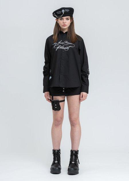 C2H4 Distressed Panelled Grunge Shirt - Black