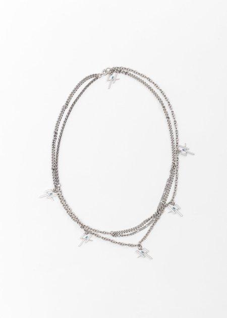 C2H4 Multi Chain Logo Necklace - Silver