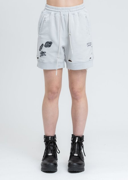 C2H4 Patched Ruin Distressed Sweat Shorts - White