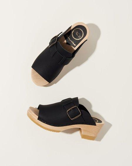 No.6 Riley Mid Heel Open Toe Clog - Black