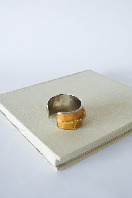 Vintage Tods Leather Cuff - Yellow